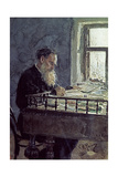 Lev Tolstoy (1828-1910) at Work, 1893 Giclee Print by Ilya Efimovich Repin