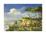 Picnic at Mrs Macquarie's Chair, 1855 Giclee Print by Lieutenant George Austin Woods
