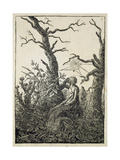 The Woman with a Spider's Web in the Middle of Leafless Trees Giclee Print by Caspar David Friedrich