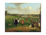Leak Okeover, Rev. John Allen and Captain Chester at Okeover Hall, Staffordshire, C. 1785 Giclee Print by Arthur Devis