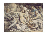 Pd.5-1957 the Lamentation over the Dead Christ, C.1585 Giclee Print by Isaac Oliver