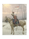 A Lancer of Napoleon's Polish Guards on Winter Patrol Giclee Print by Jan Van Chelminski