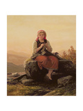 Young Girl Knitting, 19th Century Giclee Print by Meyer von Bremen