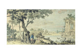 Landscape with Figures Giclee Print by John Inigo Richards