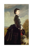Portrait of a Lady in Black with a Dog, 1875 Giclee Print by James Archer