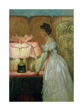 Lamplight Study of Interior with Lady, 1891 Giclee Print by Frank Bernard Dicksee