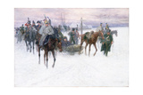 Napoleon's Troops Retreating from Moscow, 1888-89 Giclée-tryk af Jan Van Chelminski