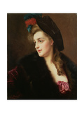 Portrait of a Woman in a Hat Giclee Print by Gustave Jacquet