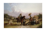 Harvesters Greeting Two Travellers Giclee Print by William Shayer