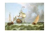 The Warship 'Hollandia' in Full Sail Giclee Print by Ludolf Backhuysen