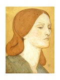 No.1575 Head of a Girl in a Green Dress (Elizabeth Siddal), 1850-65 Giclee-trykk av Dante Gabriel Rossetti