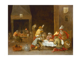 Monkeys in a Guard Room Interior Giclee Print by Ferdinand van Kessel