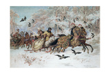 Olenka and Kmicic in a Sleigh, 1885 Giclee Print by Juliusz Fortunat Kossak