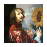 Self Portrait with a Sunflower, after 1632 Giclee Print by Sir Anthony van Dyck