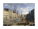 A View of the Piazza Navona in Rome Giclee Print by Gaspar van Wittel