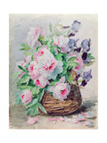 Irises and Peonies in a Basket Giclee Print by Madeleine Lemaire