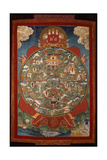 Thangka, Depicting Wheel of Life Turned by Red Yama, Lord of Death, 19th-20th Century Giclee Print