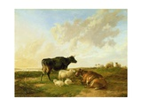 Landscape with Cows and Sheep, 1850 Giclee Print by Thomas Sidney Cooper