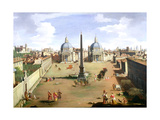 A View of the Piazza Del Popolo in Rome Giclee Print by Gaspar van Wittel