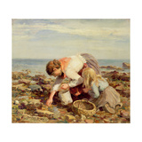 Collecting Shells Gicléetryck av William Marshall Brown