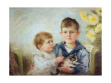 A Boy and Girl with a Kitten, 1889 Giclee Print by Anna Lea Merritt