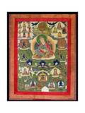 Thangka of Padmasambhava with Thirty-One Major and Several Minor Figures Depicting… Giclee Print