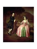 Sir George and Lady Strickland, 1751 (Detail) Giclee Print by Arthur Devis