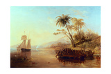 A British Surveying Ship in the South Pacific Greeted by Islanders in Outrigger Canoes, C.1840 Giclee Print by John Wilson Carmichael