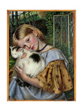 A Girl with a Cat, 1860 Giclee Print by Robert Braithwaite Martineau