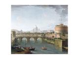 View of the Tiber Giclee Print by Antonio Joli