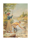 Couple Fishing on a River Giclée-Druck