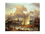 The Swedish Yacht 'Lejouet', in Amsterdam Harbour, 1674 Giclee Print by Ludolf Backhuysen