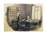 Emperor Franz Joseph I of Austria (1830-1916) at His Writing Desk at Jagdrock Giclee Print by Wilhelm Gause