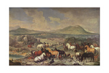 The Imperial Stud with Lipizzaner Horses Giclee Print by Johann Georg Hamilton