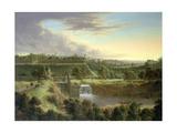 River Landscape by a Walled Town, Probably Sachausen Giclée-Druck von Johann Christian Vollerdt Or Vollaert