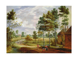 Figures Outside a Cottage in a Country Landscape Giclee Print by Isaak van Oosten