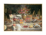 Still Life of Table Laden with Food, Drink and a Vase of Flowers Giclee Print by Thomas Hiepes