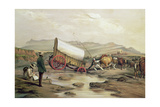 T662 Klaass Smit's River, with a Broken Down Wagon, Crossing the Drift, South Africa, 1852 Giclée-tryk af Thomas Baines