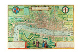 Map of London, from 'Civitates Orbis Terrarum', by Georg Braun (1542-1622) and Frans Hogenburg… Giclee Print by Joris Hoefnagel
