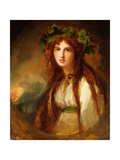 Portrait of Emma, Lady Hamilton, as a Bacchante Giclee Print by George Romney