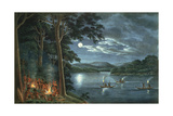 "Fishing by Torchlight, Other Aborigines Beside Camp Fires Cooking Fish, from His ""Drawings of the… Giclee Print by Joseph Lycett"