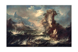 Italian Seascape with Rocks and Figures Giclee Print by Marco Ricci