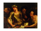 The Executioner Presents the Head of St. John the Baptist to King Herod Giclee Print by Giambattista Langetti