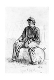 Drummer Boy Taking a Rest During the Civil War Giclee Print by Edwin Austin Forbes