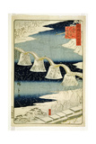 Kintai Bridge in the Snow, from the Series 'Shokoku Meisho Hyakkei' Giclee Print by Ando Hiroshige
