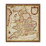 Sampler Depicting a Map of England and Wales, Chain, Double Back and Satin Stitch, by Ann Seaton… Giclee Print