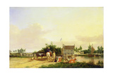 Buckenham Ferry on the River Yare, Norfolk, 1826 Giclee Print by Joseph Stannard