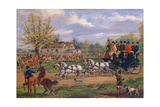 Stage Coach Passing a Meet Outside an Inn, 1862 Giclee Print by Samuel Henry Gordon Alken