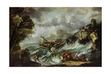 Seascape with Shipwreck, C.1700-07 Giclee Print by Antonio Marini