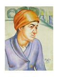 Portrait of a Woman Worker, 1912 Giclee Print by Kuzma Sergeevich Petrov-Vodkin
